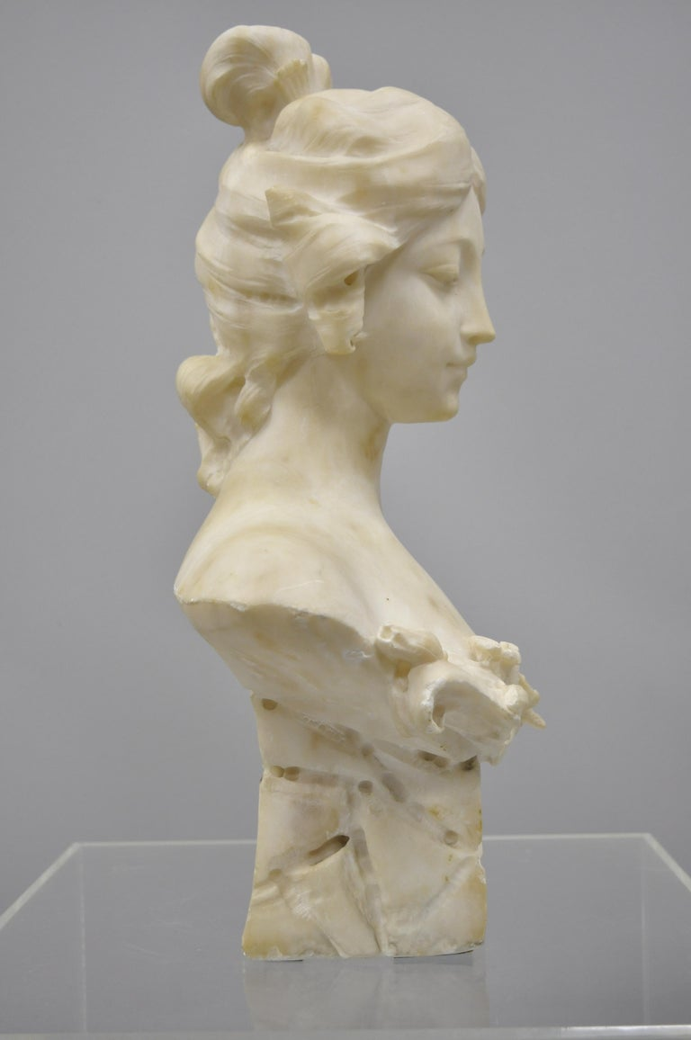 Victorian Hand Carved Italian Marble Bust Statue of Maiden Signed A. Cipriani