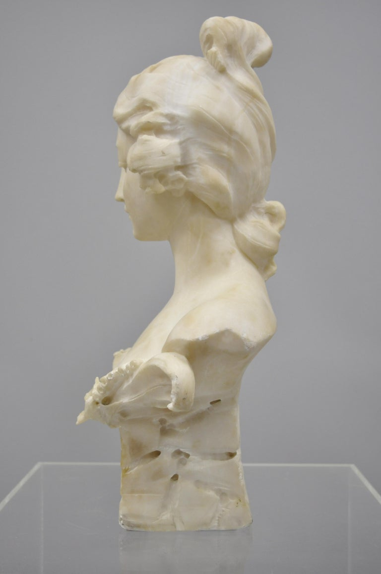 19th Century Hand Carved Italian Marble Bust Statue of Maiden Signed A. Cipriani