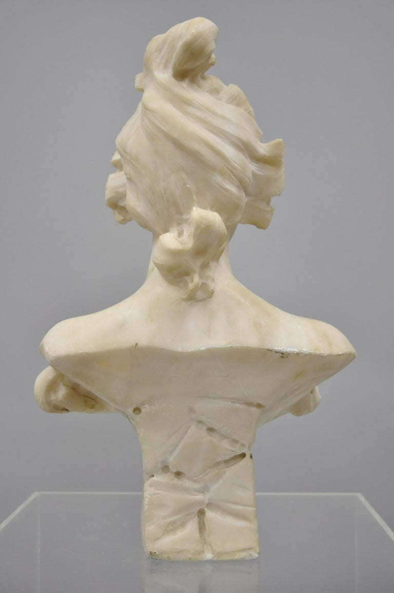 Hand Carved Italian Marble Bust Statue of Maiden Signed A. Cipriani 3