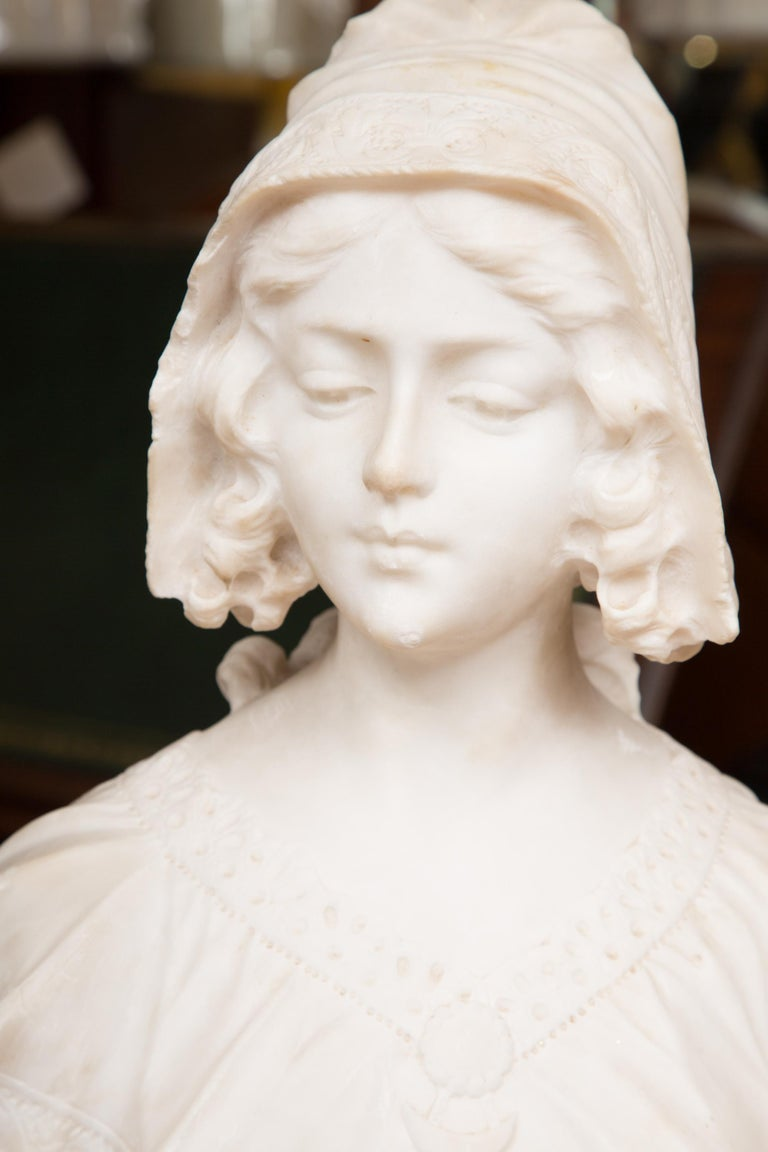 Hand Carved 19th Century French Carrara Marble Bust of a Young Lady For Sale 6