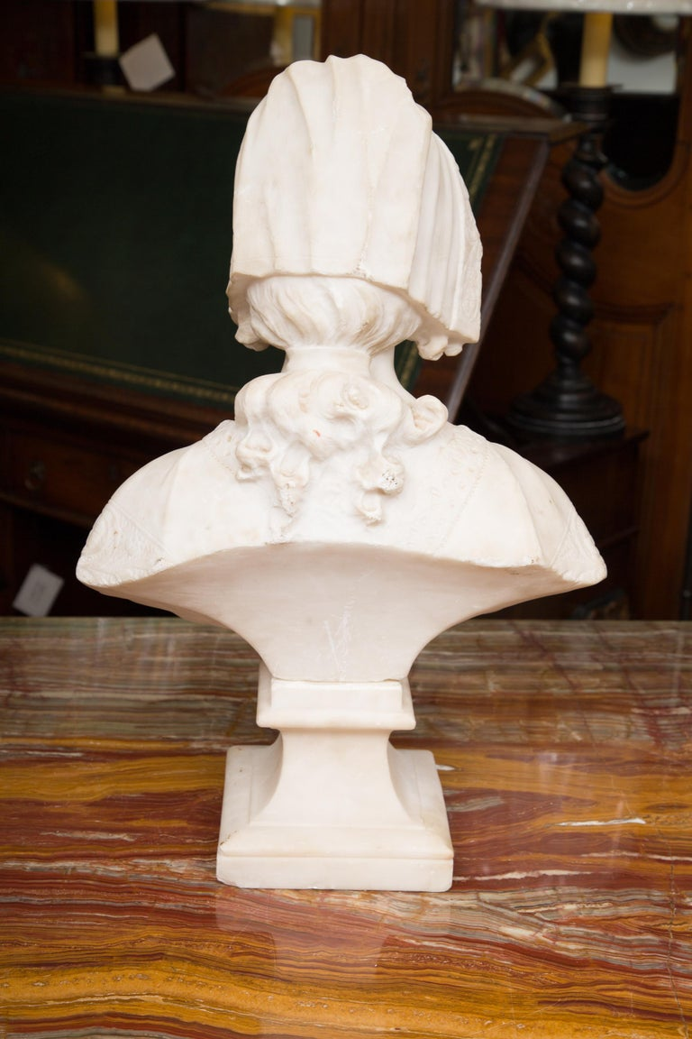 Other Hand Carved 19th Century French Carrara Marble Bust of a Young Lady For Sale