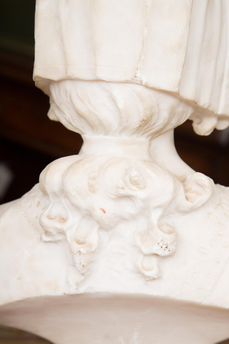Hand-Carved Hand Carved 19th Century French Carrara Marble Bust of a Young Lady For Sale