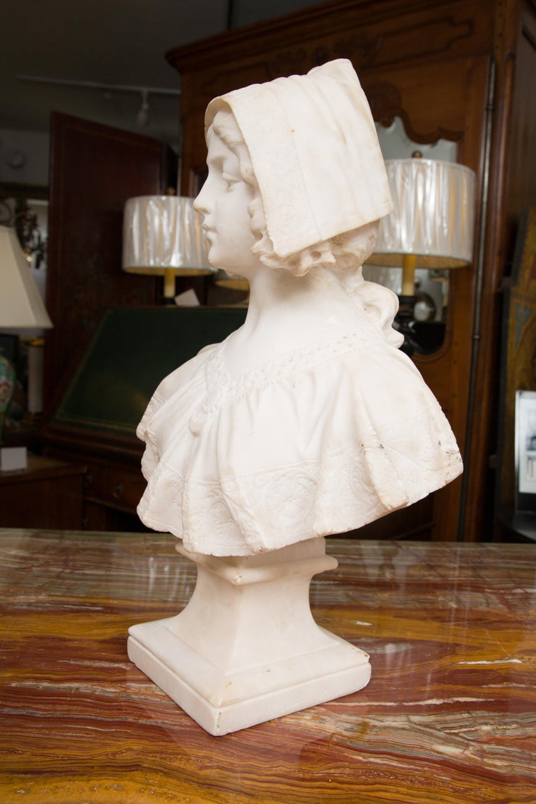 Late 19th Century Hand Carved 19th Century French Carrara Marble Bust of a Young Lady For Sale