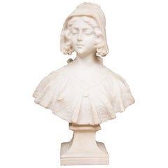 Hand Carved 19th Century French Carrara Marble Bust of a Young Lady
