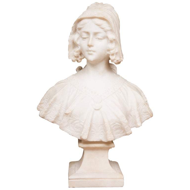 Hand Carved 19th Century French Carrara Marble Bust of a Young Lady For Sale