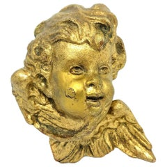 Hand Carved 19th Century Giltwood Cherub Angel Head Antique, German, 1890s