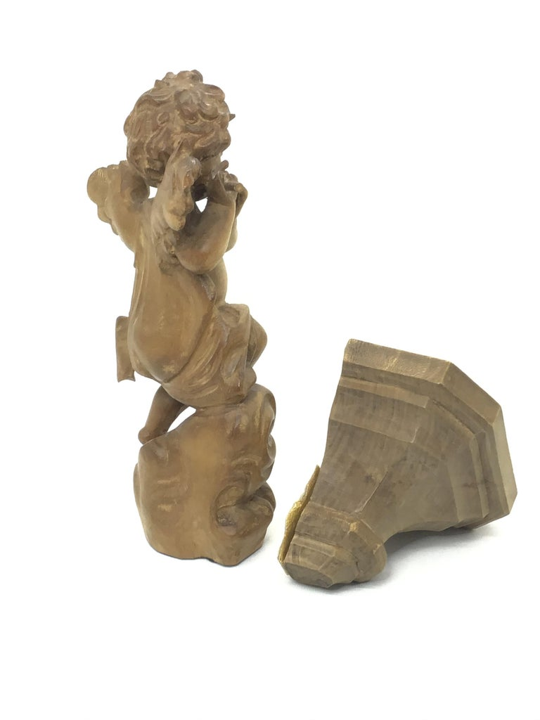 Hand Carved 20th Century Wooden Cherub Angel Playing Flute and Wall Console For Sale 1