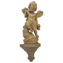 Hand Carved 20th Century Wooden Cherub Angel Playing Flute and Wall Console