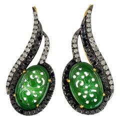 Carved Jade Diamond Ear Cuff Earrings