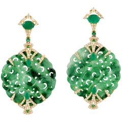 Hand Carved 32.04 Carat Jade Emerald Diamond Earrings