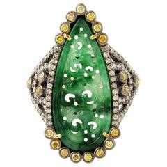 Hand Carved 3.9 Carat Jade Diamond Ring
