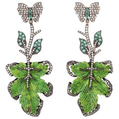 Hand Carved 39.64 Carat Turquoise Emerald Diamond Leaf Earrings