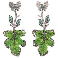 Hand Carved 39.64 Carat Turquoise Emerald Diamond Leaf Earrings