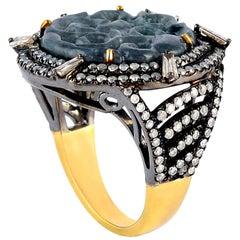 Hand Carved 5.3 Carat Jade Diamond Ring