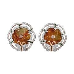 Hand Carved 5.35 Carat Jade Diamond 18 Karat Gold Stud Earrings
