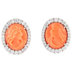 Hand Carved 6.62 Carat Coral Diamond 18 Karat Gold Stud Earrings