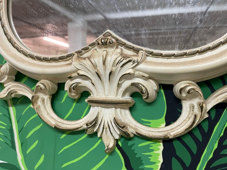 Hollywood Regency Hand Carved Acanthus Leaf Scrollwork Mirror by Syroco For Sale