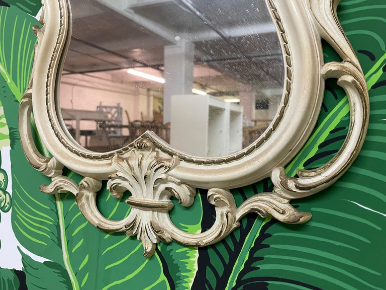 Hand Carved Acanthus Leaf Scrollwork Mirror by Syroco In Good Condition For Sale In Jacksonville, FL