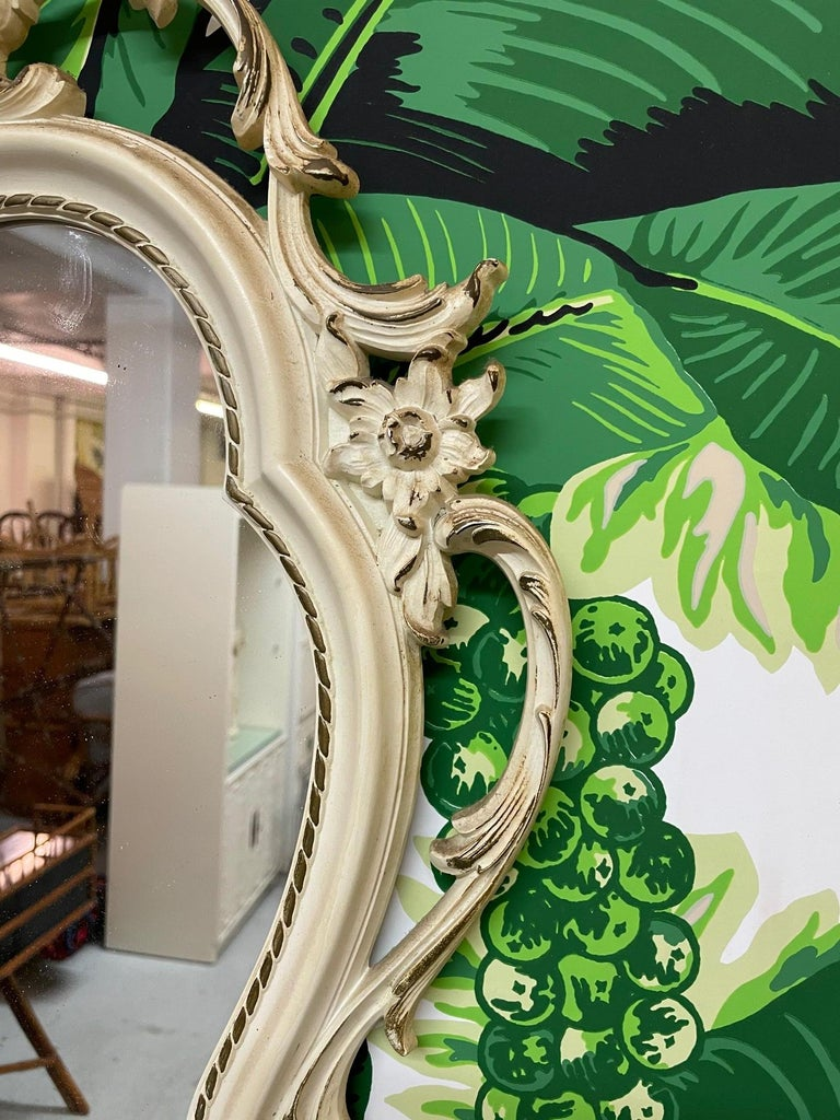 Mid-20th Century Hand Carved Acanthus Leaf Scrollwork Mirror by Syroco For Sale