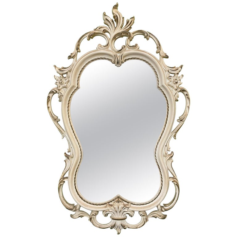 Hand Carved Acanthus Leaf Scrollwork Mirror by Syroco For Sale