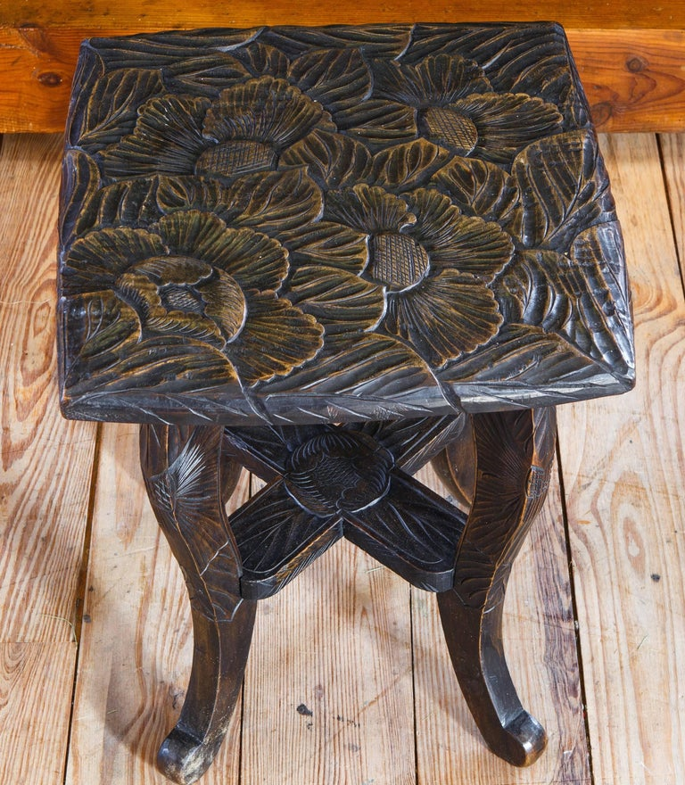 English Hand Carved Aesthetic Movement Table/ Stool with Floral Design For Sale