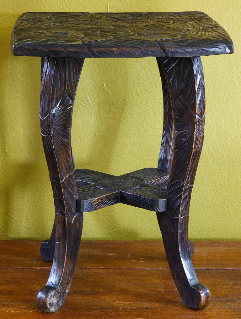 Hand Carved Aesthetic Movement Table/ Stool with Floral Design In Excellent Condition For Sale In Houston, TX