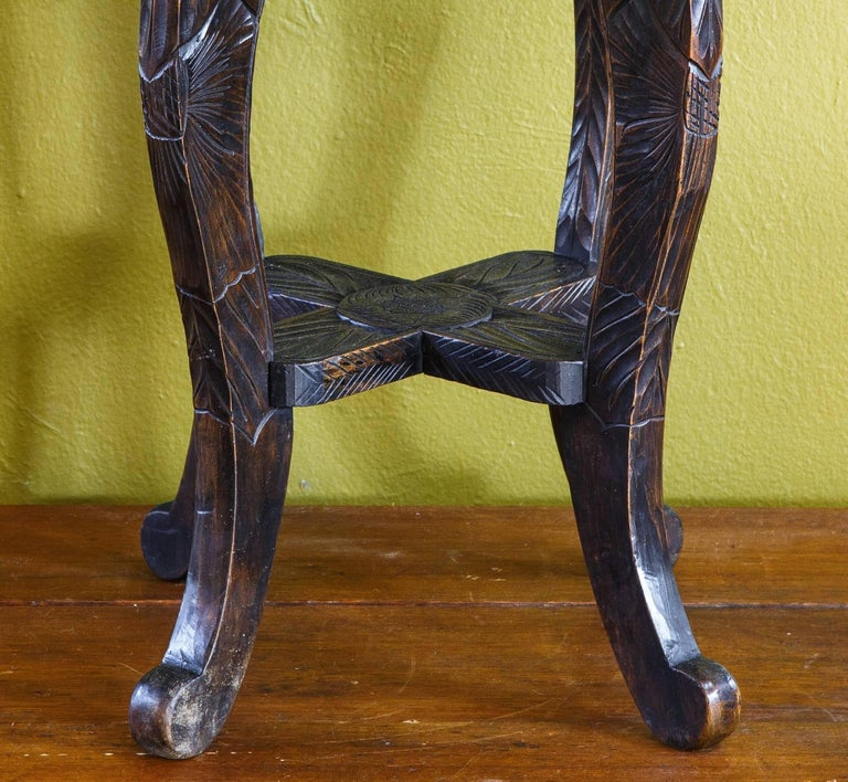 19th Century Hand Carved Aesthetic Movement Table/ Stool with Floral Design For Sale