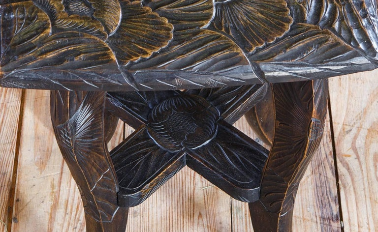 Wood Hand Carved Aesthetic Movement Table/ Stool with Floral Design For Sale