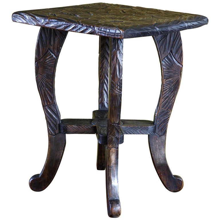 Hand Carved Aesthetic Movement Table/ Stool with Floral Design For Sale