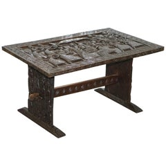 Hand-Carved African Dining Table with Decorative Benin Figures Matching Chairs