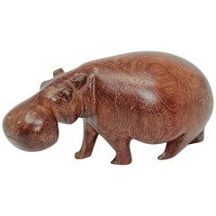 Hand Carved African Hippopotamus Wooden Sculpture