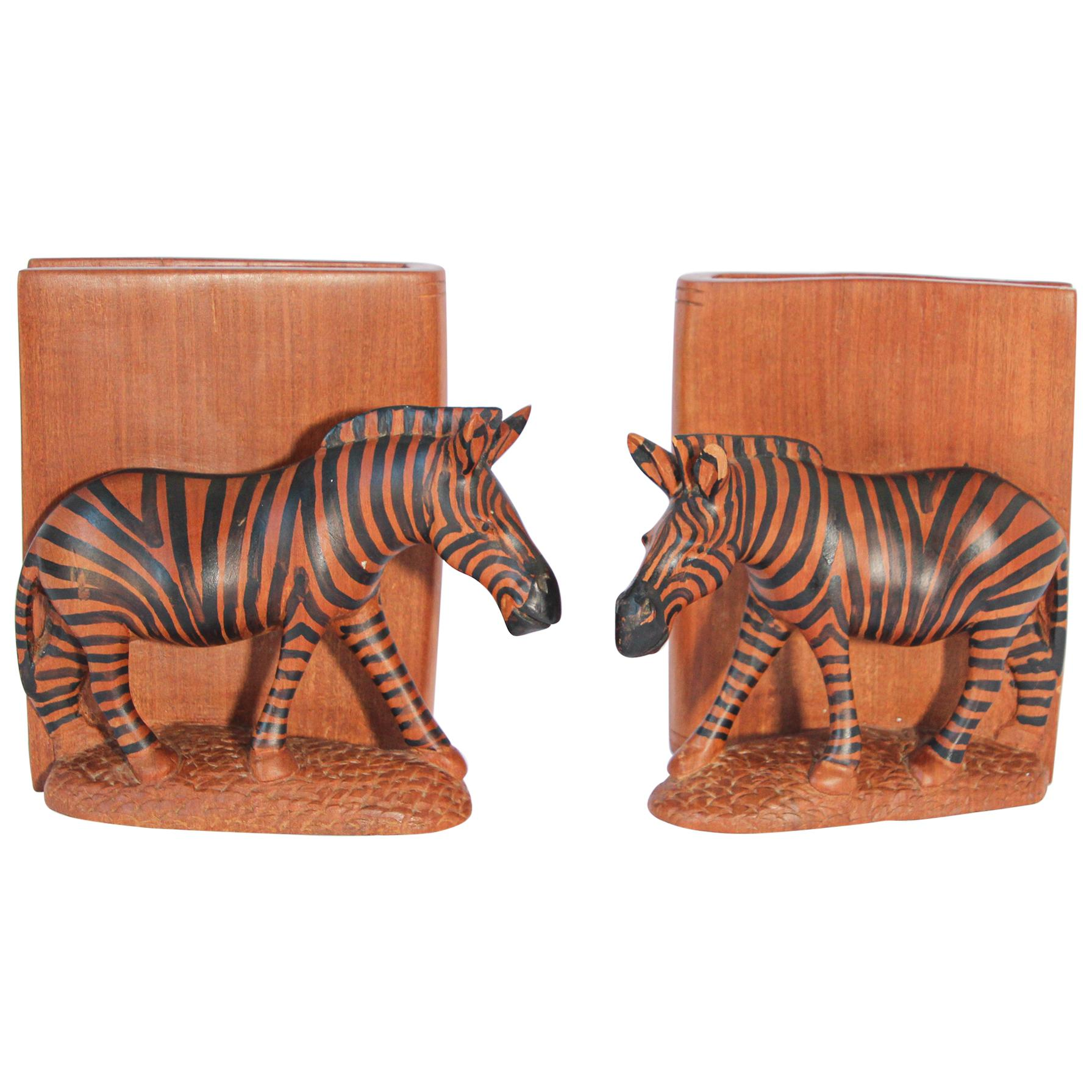 Hand Carved African Zebra Bookends