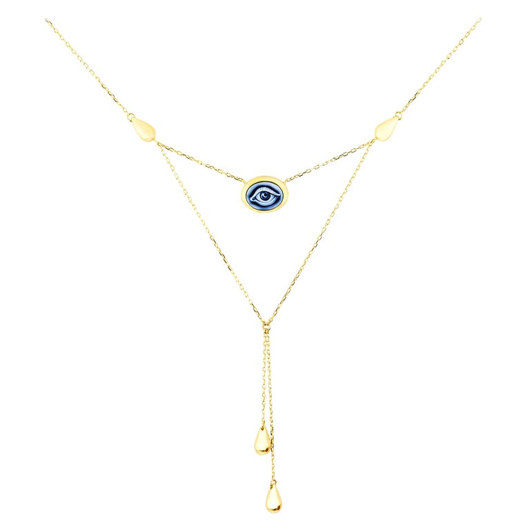 """AnaKatarina Hand Carved Agate and Yellow Gold """"Lover's Eye"""" Necklace For Sale"""
