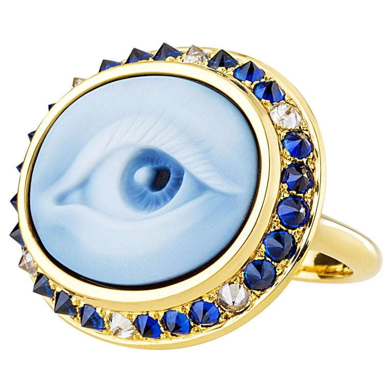 AnaKatarina Hand Carved Agate, Sapphire, Diamond and Yellow Gold Eye Cameo Ring For Sale