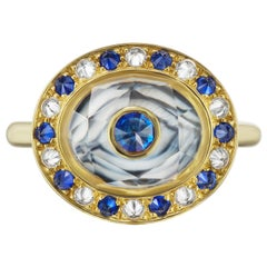 Hand Carved Agate, Yellow Gold, Sapphire and Diamond Locket Ring