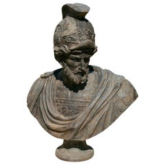 Hand Carved Aged Marble Bust of Roman General with Helmet and Toga