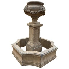 Hand Carved Aged Marble Fountain with Pool Topped with Ornamental Planter Urn