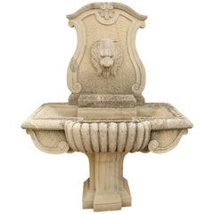 Hand Carved Aged Stone Wall Fountain with Lion Head