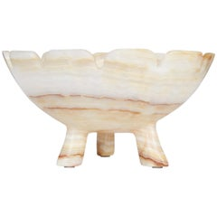 Hand Carved Alabaster Bowl with Tripod Legs