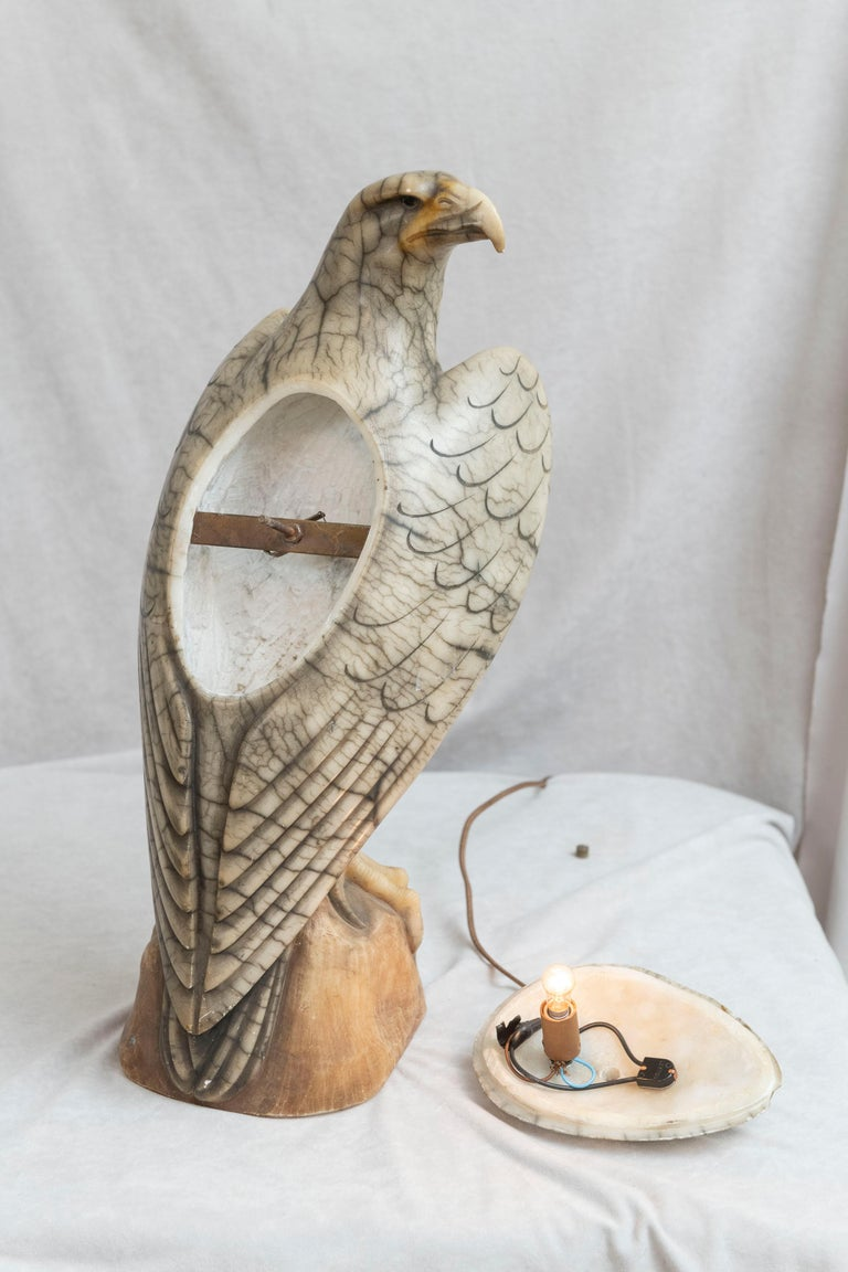 Hand Carved Alabaster Eagle Lamp, Italian, circa 1920 For Sale 4