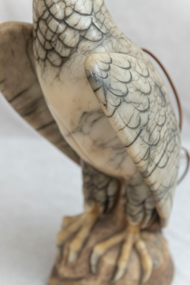 Hand Carved Alabaster Eagle Lamp, Italian, circa 1920 For Sale 8
