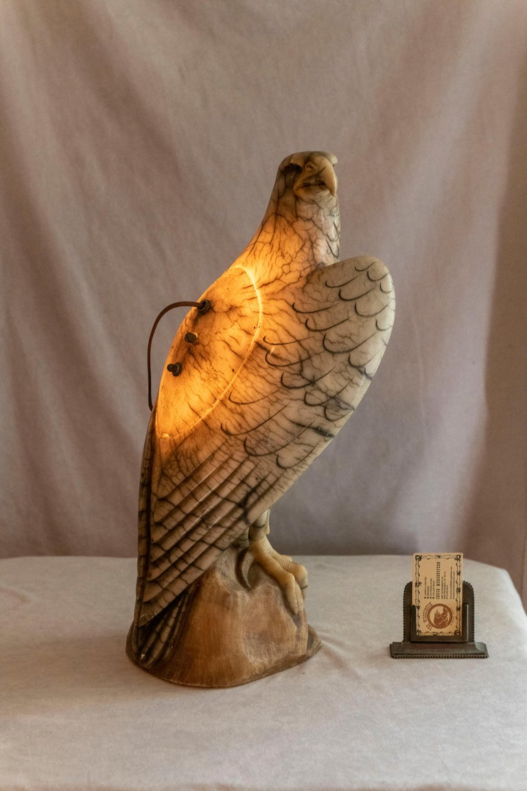 We were struck by how well this eagle was carved especially the how the areas of black were so realistically placed. The eagle has glass eyes to make it even more realistic. Being a lamp makes it that much more enjoyable. Looks great at night in a