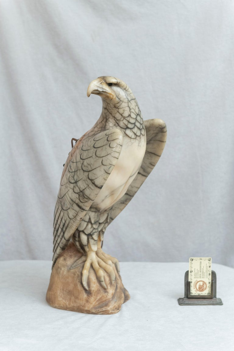 Hand Carved Alabaster Eagle Lamp, Italian, circa 1920 In Good Condition For Sale In Petaluma, CA
