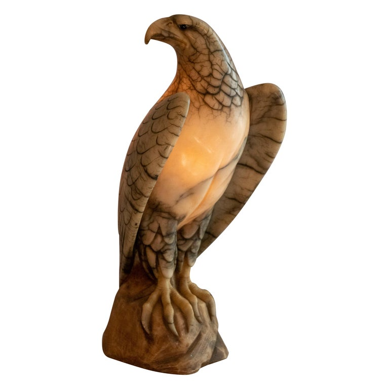 Hand Carved Alabaster Eagle Lamp, Italian, circa 1920 For Sale