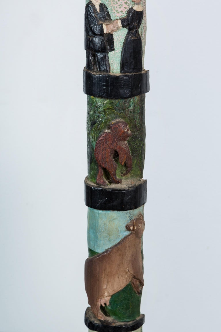 Hand-Carved American Folk Art Totem Pole Evolution Fish to Infant In Good Condition For Sale In Santa Monica, CA