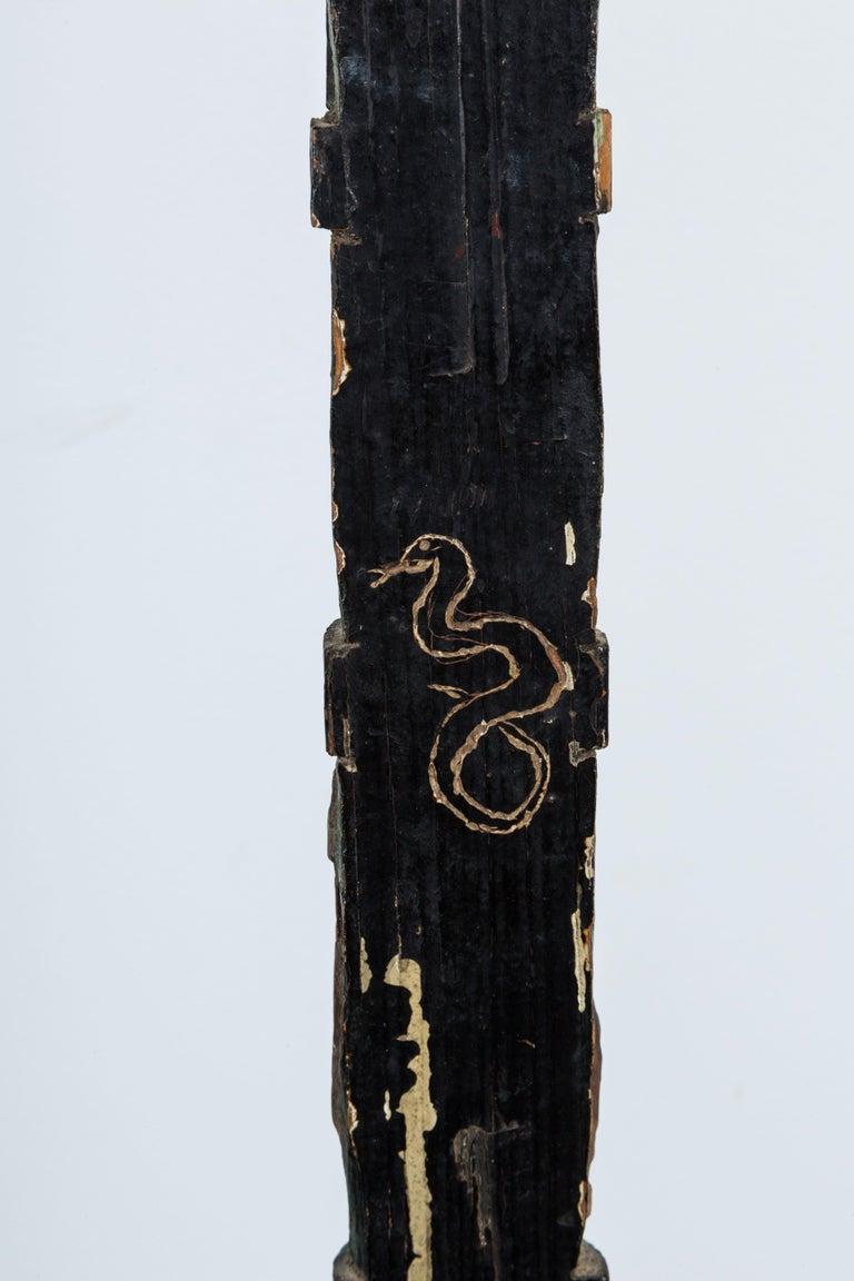 Hand-Carved American Folk Art Totem Pole Evolution Fish to Infant For Sale 2