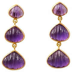 Hand Carved Amethyst Shell 22 Karat Gold Push Earrings