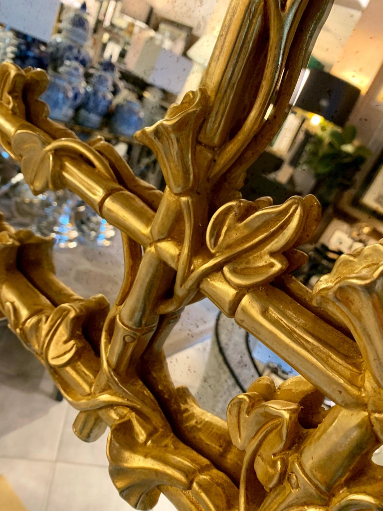 Mirror Italian Hand Carved and Gilded with  antique glass mirror For Sale