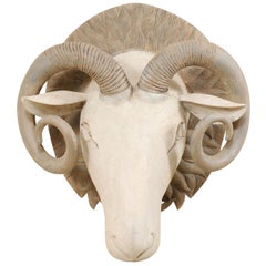Hand Carved and Painted Wood Ram's Head Wall Ornament