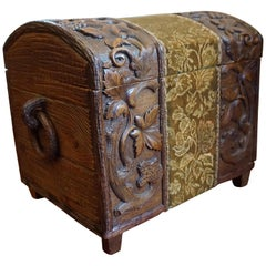Hand Carved Antique Black Forest Trunk / Chest for Keeping Fireplace Wood & Wine